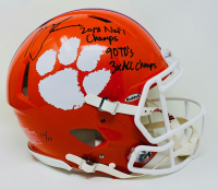 """Trevor Lawrence Signed LE Clemson Tigers Full-Size Authentic On-Field Speed Helmet Inscribed """"2018 Nat'l Champs"""" & """"90 TD's 3x ACC Champs"""" (Fanatics Hologram) at PristineAuction.com"""
