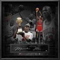 Michael Jordan Signed LE Bulls 36x36 Custom Framed Game-Used Floor Piece Display (UDA Hologram) at PristineAuction.com