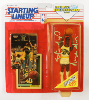 """Shawn Kemp Signed SuperSonics Starting Lineup Action Figure With (2) Sealed Upper Deck Cards & Oiginal Packaging Inscribed """"Reign Man"""" (PSA COA) (See Description) at PristineAuction.com"""