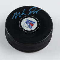 Mike Richter Signed Rangers Logo Hockey Puck (JSA COA) at PristineAuction.com
