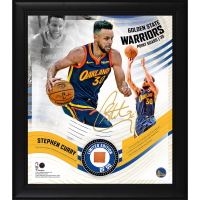 Stephen Curry LE Warriors 15x17 Custom Framed Photo with Game-Used Basketball Display (Fanatics Hologram) at PristineAuction.com