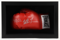 Mike Tyson & Evander Holyfield Signed 11x16x6 Custom Framed Boxing Glove Shadowbox Display (JSA COA) at PristineAuction.com