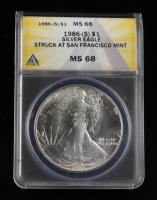 1986-S Walking Liberty Silver Half Dollar (ANACS MS68) at PristineAuction.com