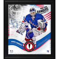 Henrik Lundqvist LE Rangers 15x17 Custom Framed Photo with Game-Used Puck Display (Fanatics Hologram) at PristineAuction.com