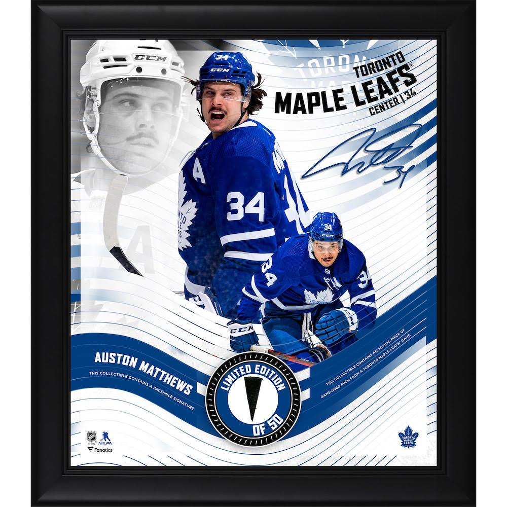 Auston Matthews LE Rangers 15x17 Custom Framed Photo Display with Game-Used Puck Piece (Fanatics Hologram) at PristineAuction.com