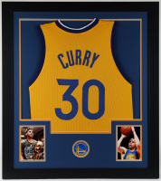 Stephen Curry 31x35 Custom Framed Jersey Display at PristineAuction.com