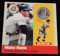 Mickey Mantle Cooperstown Yankees 6x6 Photo Card with Pure Silver Proof Coin at PristineAuction.com