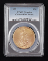 1925 $20 Twenty-Dollar Saint-Gaudens Double Eagle Gold Coin (PCGS Genuine) (Cleaned-UNC Detail) at PristineAuction.com