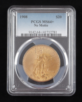 1908 $20 Twenty-Dollar Saint-Gaudens Double Eagle Gold Coin (PCGS MS64+) (No Motto) at PristineAuction.com