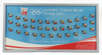 LE 2004 Athens Olympics Torch Relay 15x19 Custom Framed Commemorative Pin Set Display with (35) Coins (See Description) at PristineAuction.com