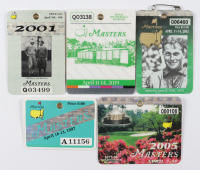 Set of (5) Tiger Woods Masters Tournament Champion Years Golf Badges with 1997, 2001, 2002, 2005 & 2019 at PristineAuction.com