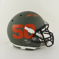"""Mike Singletary Signed Full-Size Authentic On-Field Matte Green Helmet Inscribed """"HOF 98"""" (Beckett COA) at PristineAuction.com"""