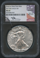 """2017 (W) American Silver Eagle $1 One Dollar Coin - John M. Mercanti Signed """"Struck At West Point Mint"""" (NGC MS69) (See Description) at PristineAuction.com"""