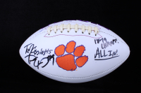 """Travis Etienne & Tee Higgins Signed Clemson Tigers Logo Football Inscribed """"18-19 Champs!"""" & """"ALL IN!"""" (JSA COA) (See Description) at PristineAuction.com"""