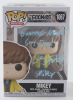 """Sean Astin Signed """"The Goonies"""" #1067 Funko Pop! Vinyl Figure Inscribed """"Goonies Never Say Die!"""" & """"Mikey"""" (Beckett COA) (See Description) at PristineAuction.com"""