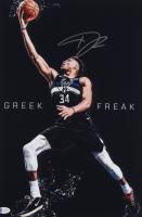 Giannis Antetokounmpo Signed Bucks 12x18 Photo (Beckett COA) at PristineAuction.com