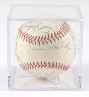 1970 Giants ONL Baseball Signed by (25) with Willie McCovey, Juan Marichal, Gaylord Perry, Bobby Bonds with Display Case (JSA LOA) (See Description) at PristineAuction.com