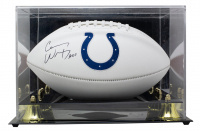 """Carson Wentz Signed Colts Logo Football With Display Case Inscribed """"A01"""" (Fanatics Hologram) at PristineAuction.com"""