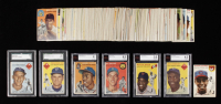 1954 Topps Complete Set of (250) Baseball Cards with #10 Jackie Robinson (BVG 4.5), #14 Preacher Roe (SGC 6), #90 Willie Mays (BVG 5.5), #94 Ernie Banks RC, #128 Hank Aaron RC (BVG 4), #153 Al Walker (SGC 5), #201 Al Kaline RC (BVG 6.5) at PristineAuction.com