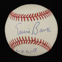 """Ernie Banks Signed ONL Baseball Inscribed """"Mr Cub"""" (JSA COA) at PristineAuction.com"""