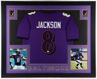 Lamar Jackson Signed 35x43 Custom Framed Jersey Display (JSA Hologram) (See Description) at PristineAuction.com