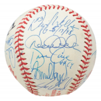 1998 Yankees World Series Baseball Team-Signed by (20) with Derek Jeter, George Steinbrenner, David Wells, David Cone With Multiple Inscriptions With Display Case (PSA LOA) (See Description) at PristineAuction.com