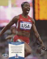 "Carmelita Jeter Signed Olympics 8x10 Photo Inscribed ""10.64 100M 40.02 WR"" (Beckett COA) at PristineAuction.com"