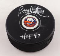 "Bryan Trottier Signed Islanders Logo Hockey Puck Inscribed ""HOF 97"" (Fanatics Hologram) (See Description) at PristineAuction.com"