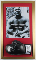 Mike Tyson Signed 17x28 Custom Framed Boxing Glove Display (PSA COA) (See Description) at PristineAuction.com
