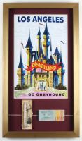 Disneyland 15x26 Custom Framed Display with Vintage Ticket Booklet, Pen & KEYCHAIN Set in Original Disneyland Souvenir Package (See Description) at PristineAuction.com