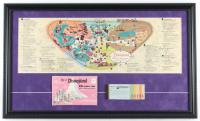 1962 Disneyland Map 16x26.5 Custom Framed Print Display with Vintage Ticket Booklet & Photo Portfolio at PristineAuction.com