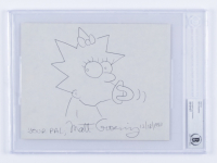 """Matt Groening Signed """"Simpsons"""" 8x10 Hand Drawn Sketch of Maggie Simpson on Canvas Inscribed """"Your Pal"""" & """"12/18/1990"""" (BGS Encapsulated) at PristineAuction.com"""