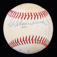 Cardinals Logo Baseball 1975 Team-Signed by (17) with Bob Gibson, Red Schoendienst, Lou Brock, Bob Forsch, Mike Tyson, Mike Barlow, Greg Terlecky (JSA ALOA) (See Description) at PristineAuction.com