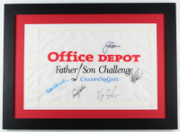 Father Son Challenge 21x29 Custom Framed Pin Flag Display Signed by (5) with Jack Nicklaus, Lanny Wadkins, Vijay Singh (JSA ALOA) (See Description) at PristineAuction.com