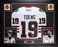 Jonathan Toews Signed 35x43 Custom Framed Jersey (JSA COA) at PristineAuction.com