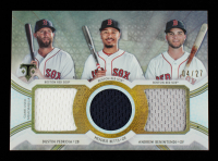 Andrew Benintendi / Mookie Betts / Dustin Pedroia 2018 Topps Triple Threads Relic Combos Silver #RCCDMA #4/27 at PristineAuction.com