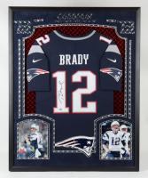 Tom Brady Signed  Patriots 34x42 Custom Framed Jersey Display with LED Lights (Fanatics Hologram) at PristineAuction.com