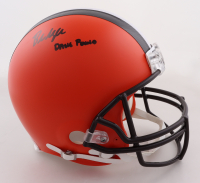 """Baker Mayfield Signed Browns Full-Size Authentic On-Field Helmet Inscribed """"Dawg Pound"""" (Beckett Hologram) (See Description) at PristineAuction.com"""