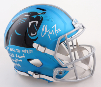 Christian McCaffrey Signed Panthers Blaze Alternate Full-Size Speed Helmet With (5) Career Stat Inscriptions (Beckett COA) (See Description) at PristineAuction.com