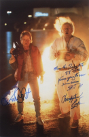 """Michael J. Fox & Christopher Lloyd Signed """"Back To The Future"""" 20x30 Photo with Extensive Inscription (AutographCOA COA) at PristineAuction.com"""