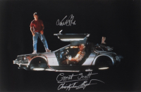 "Michael J. Fox & Christopher Lloyd Signed ""Back To The Future"" 20x30 Photo Inscribed ""Great Scott"" (AutographCOA LOA) (See Description) at PristineAuction.com"