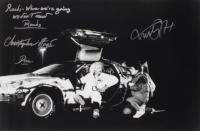 "Michael J. Fox & Christopher Lloyd Signed ""Back To The Future"" 20x30 Photo with Extensive Inscription (AutographCOA COA) (See Description) at PristineAuction.com"