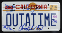 """Cast-Signed """"Back to the Future"""" License Plate Signed by (5) with Michael J. Fox, Christopher Lloyd, Bob Gale (AutographCOA LOA) at PristineAuction.com"""