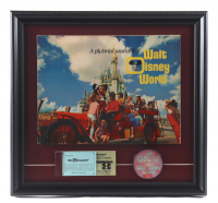 """Vintage Disney World 1971 16x16 Custom Framed Guide Book Display with Ticket Booklet & Vari Vue """"I'm Goofy About Disney World"""" Pin at PristineAuction.com"""