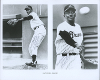 """Satchel Paige Twice-Signed Braves Vintage 8x10 Photo Twice-Inscribed """"Best Wishes From"""" (PSA LOA) at PristineAuction.com"""