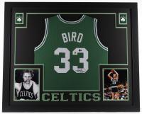 Larry Bird Signed 35x43 Custom Framed Jersey (Beckett Hologram & Bird Hologram) at PristineAuction.com