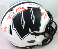 "J.J. Watt, T.J. Watt & Derek Watt Signed Wisconsin Badgers Full-Size Authentic On-Field Lunar Eclipse Alternate Speed Helmet Inscribed ""On Wisconsin!"" (JSA Hologram & Watt Hologram) at PristineAuction.com"