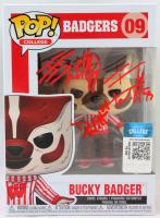 J.J. Watt, T.J. Watt & Derek Watt Signed Wisconsin Badgers #09 Bucky Badger Funko Pop! Vinyl Figure (JSA Hologram & Watt Hologram) at PristineAuction.com