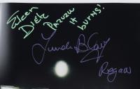"Eileen Dietz  & Linda Blair Signed ""The Exorcist"" 11x17 Photo Inscribed ""Pazuzu It Burns!"" & ""Regan"" (Beckett Hologram) at PristineAuction.com"