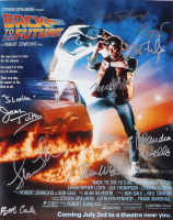 """""""Back to The Future"""" 16x20 Photo Signed By (8) With Michael J. Fox, Christopher Lloyd, Lea Thompson, Tom Wilson, Claudia Wells, Donald Fullilove With Inscriptions (AutographCOA COA) at PristineAuction.com"""